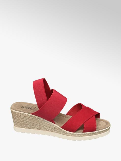 Easy Street Red Elasticated Wedge Sandals