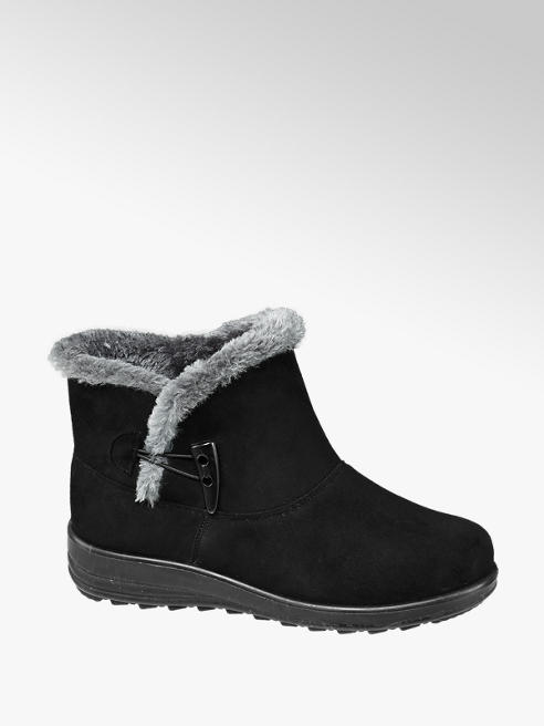 Easy Street Black Fur Lined Comfort Ankle Boots