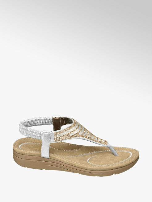 Easy Street Silver Gem Toe Post Sandals