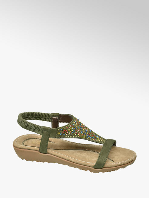 Easy Street Khaki Elasticated Beaded Sandals