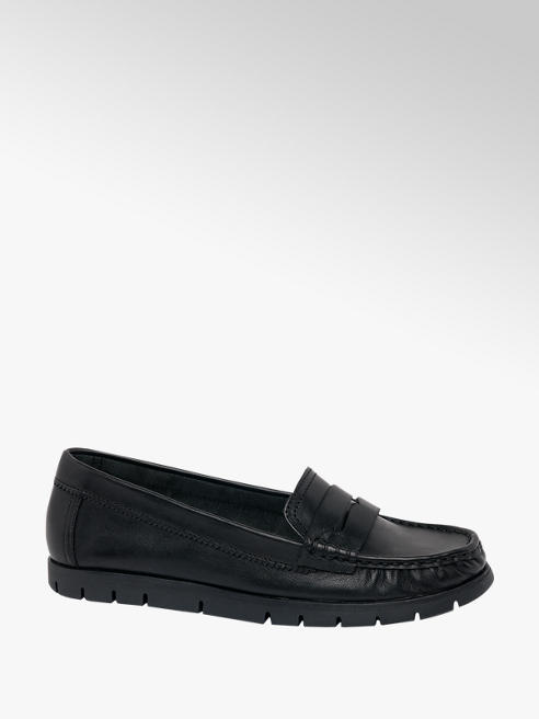 Easy Street Black Leather Slip On Moccasin