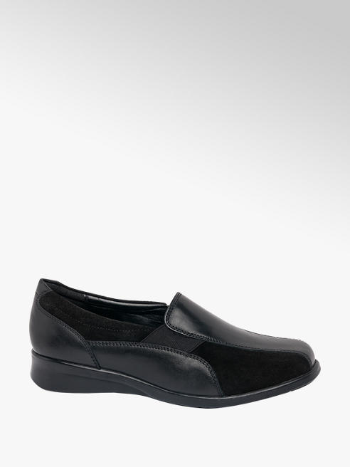 Easy Street Black Leather Elastic Slip On Shoe