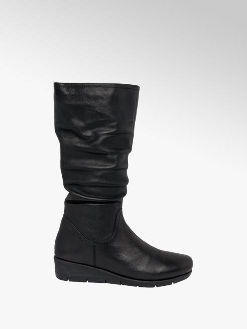 Easy Street Black Leather Wedge Heel Long Leg Boots