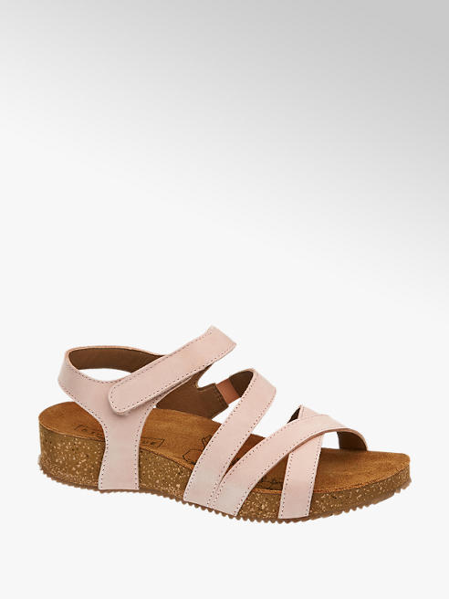 Easy Street Pink Leather Velcro Footbed Sandals