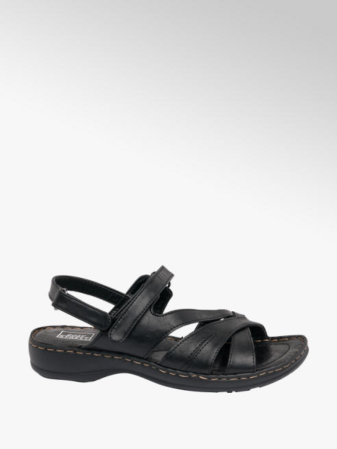 Easy Street Black Strappy Comfort Sandals