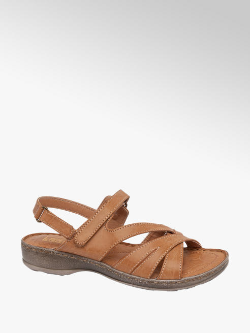 Easy Street Tan Strappy Comfort Sandals