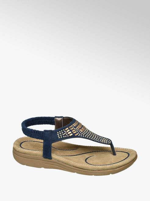 Easy Street Navy Toe-post Sandals