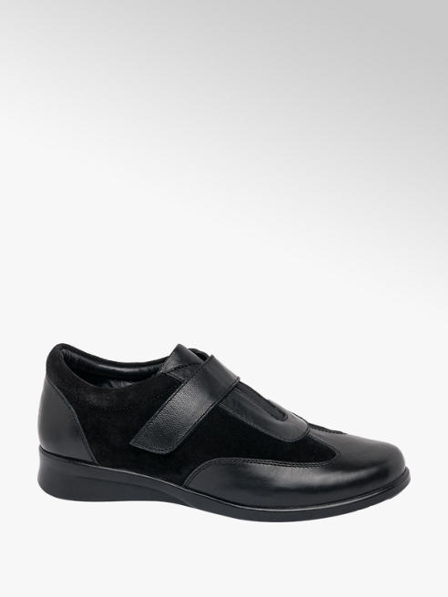 Easy Street Black Touch Fastening Leather Casual Shoe