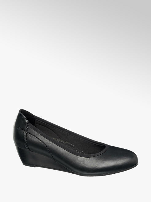 Easy Street Comfort Black Wedge Court Comfort Shoes