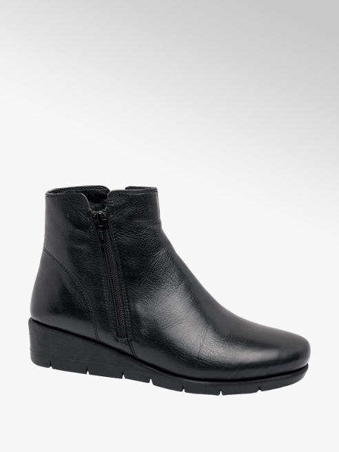 Easy Street Black Wedge Heel Slip-on Ankle Boots