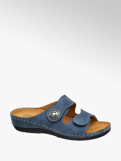 Easy Street Navy Blue Footbed Sandals