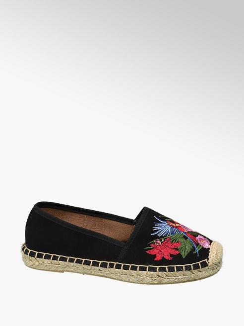 Graceland Espadrillas nera con fiori