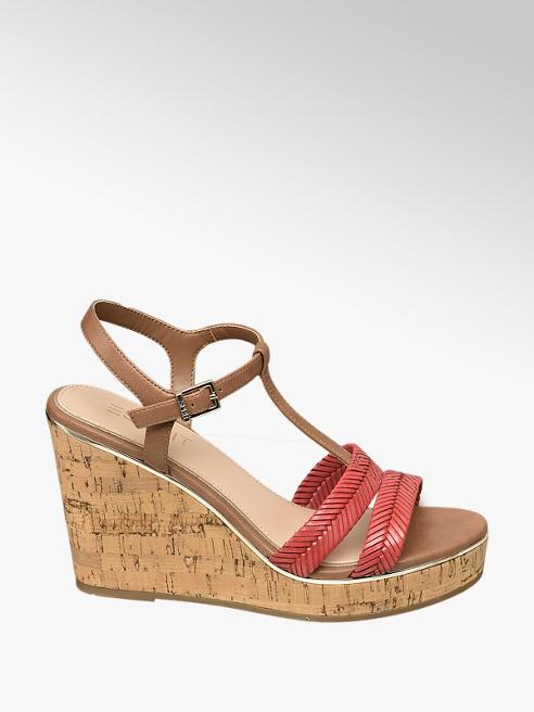 Esprit Keil Sandaletten in Braun mit Bast-Optik