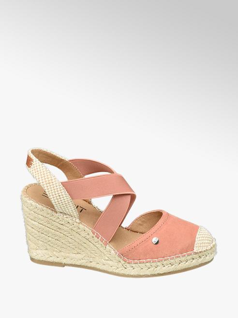 Esprit Keil Sandaletten in Koralle mit Bast-Optik