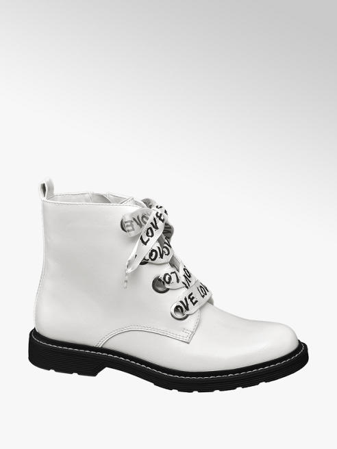 Catwalk Fehér bakancs szatén fűzővel