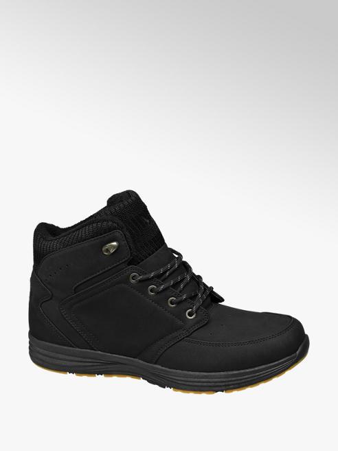 Vty Fekete bélelt magasszárú cipő