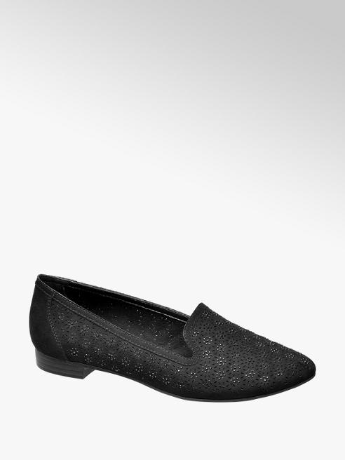 Graceland Fekete strasszos loafer