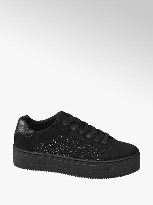 Graceland Fekete strasszos platform sneaker