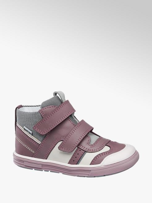 Bartek Fialová detská kožená členková obuv na suchý zips Bartek