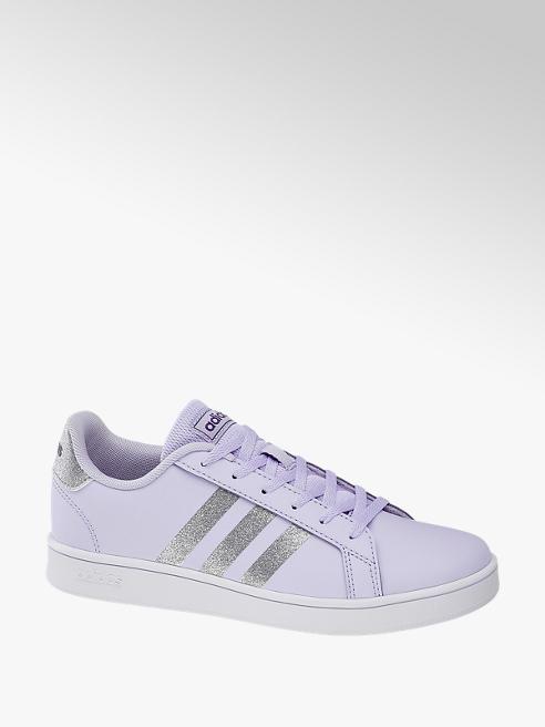 adidas Fialové tenisky Adidas Grand Court K se stříbrnými akcenty