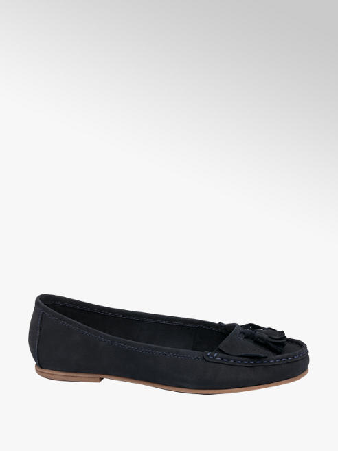 5th Avenue Ladies Navy Leather Tassel loafers