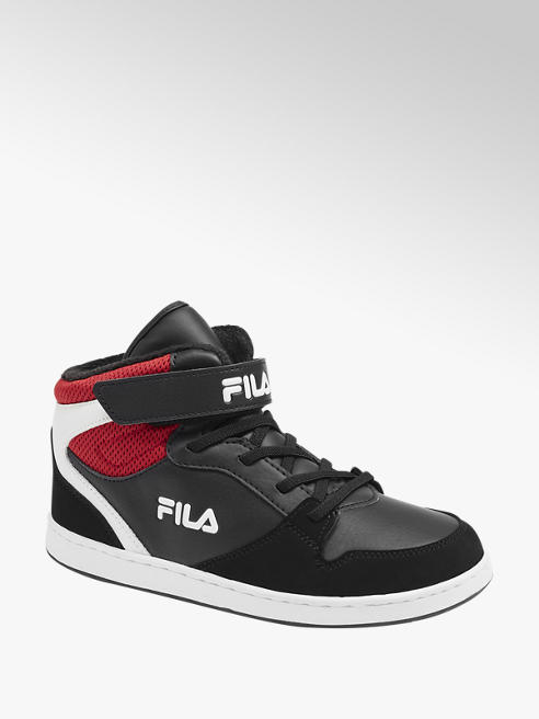 Fila Junior Boys Black Red and White Fila Hi-Top Trainers
