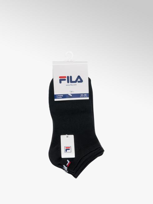 Fila Ladies Fila 3 Pack Black Trainer Sports Socks (35-38)