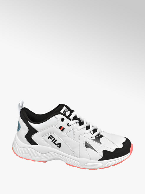 Fila Ladies Fila White/ Black Lace-up Trainers