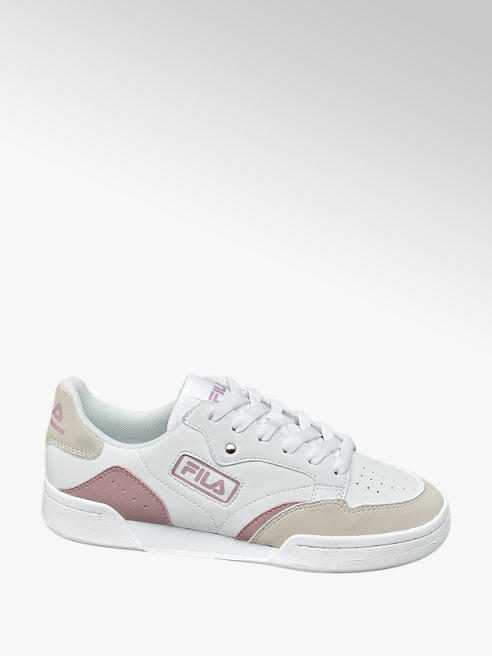 Fila Ladies Fila Retro White/ Pink Lace-up Trainers
