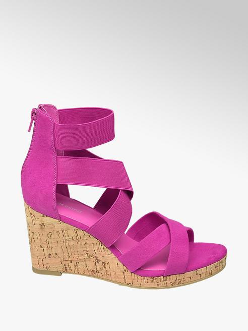 Graceland Fuchsiové sandály na klínku Graceland