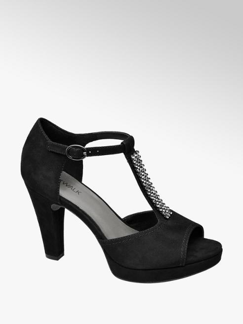 Catwalk Black Diamante Peep-toe T Bar Heels