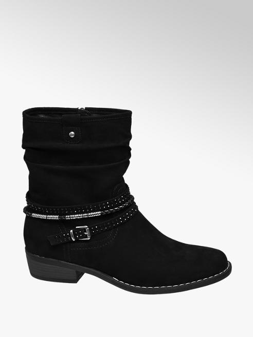 Graceland Black Stud Detail Ankle Boots