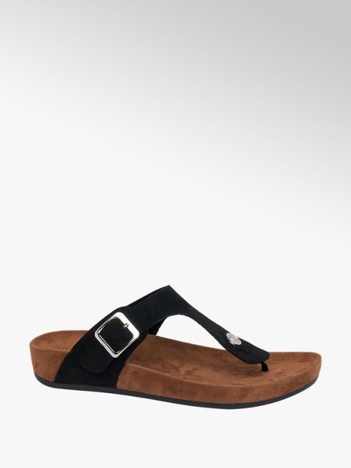 Graceland Black Toe-post Footbed Sandals