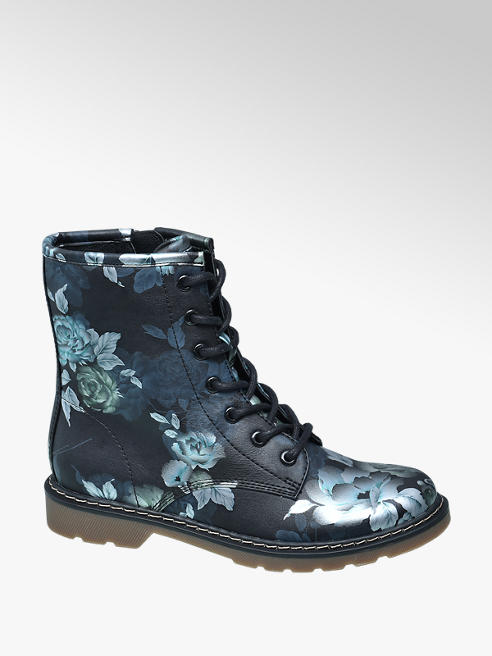 Graceland Blauwe veterboot bloemenprint