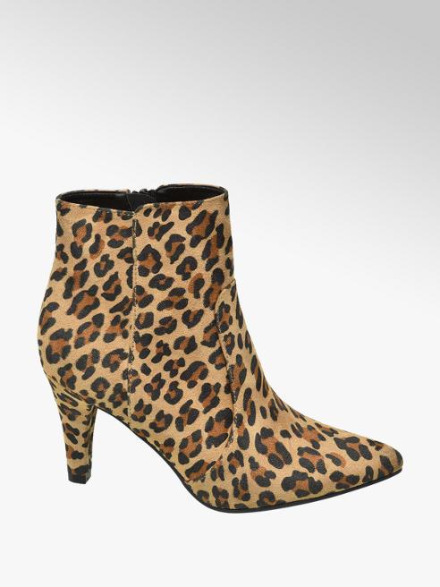 Graceland Bruine enkellaars leopardprint