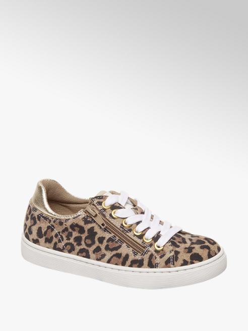 Graceland Bruine leren sneaker leopard