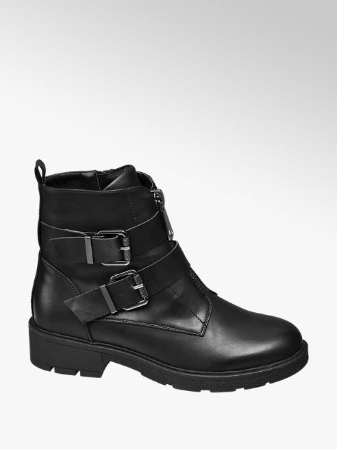 Graceland Black Buckle Detail Ankle Boots