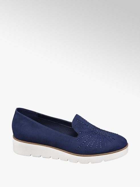 Graceland Donkerblauwe loafer steentjes