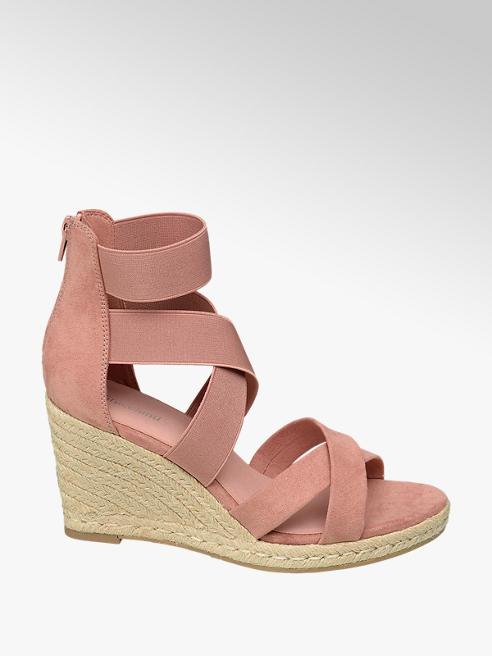 Graceland Light Pink Espadrille Wedge Sandals