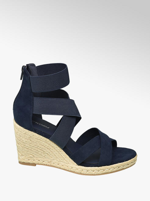 Graceland Navy Blue Espadrille Wedge Sandals