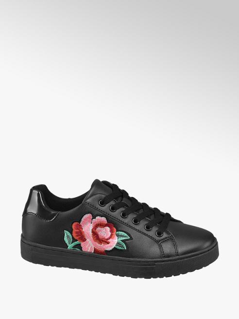 Graceland Black Floral Lace Up Trainers