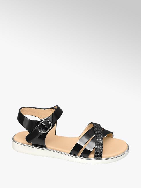 Graceland Junior Girl Black Patent Sparkle Strap Sandals