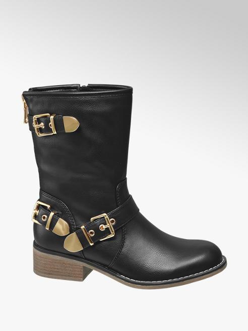 Graceland Black Buckle Detail Boots