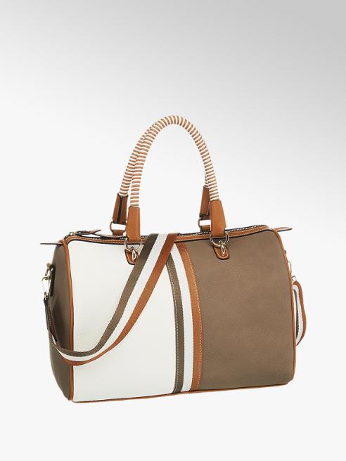 Graceland Handtasche in Braun-Weiß