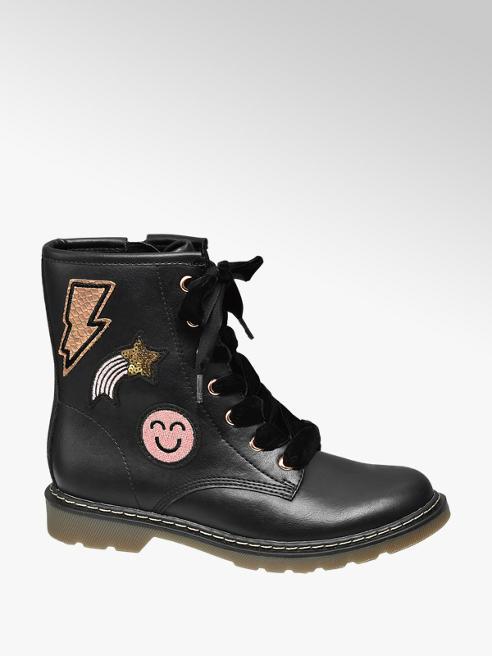 Graceland Junior Girl Black Badge Detail Lace-up Ankle Boots