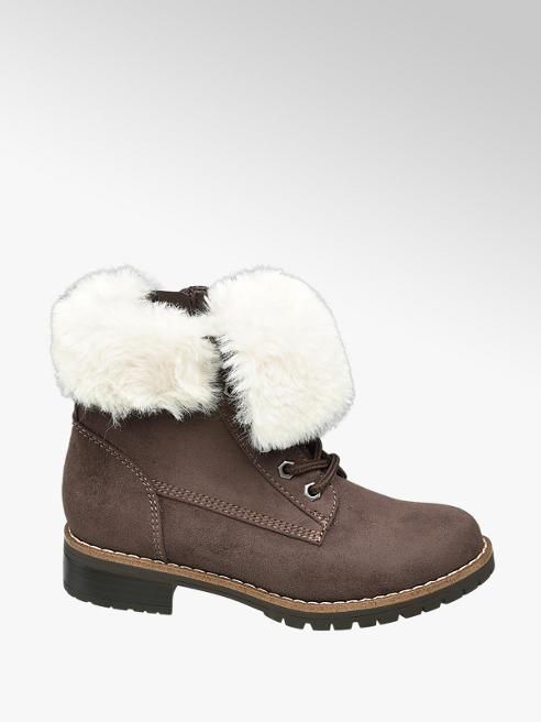 Graceland Junior Girl Faux Fur Collar Lace-up Ankle Boots