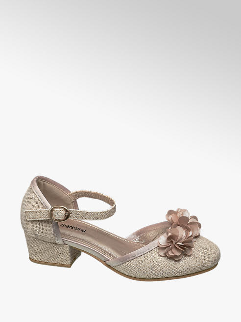 Graceland Junior Girl Gold Flower Trim Glitter Party Shoes