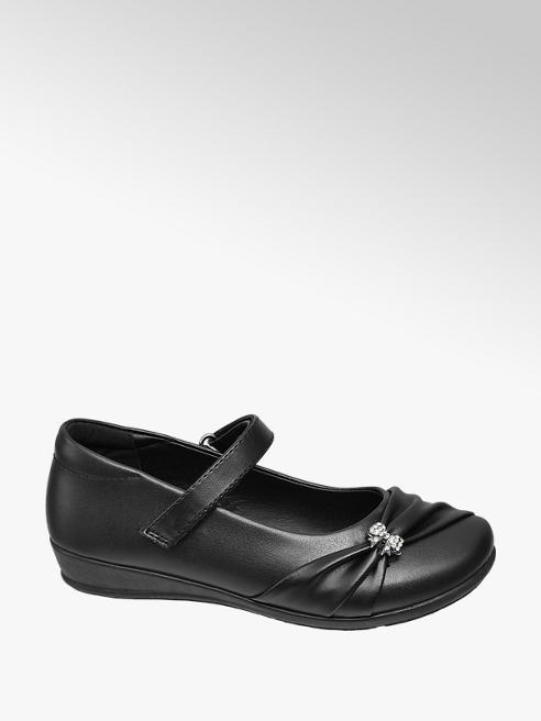 Graceland Junior Girl Black Gem Bow Detail Bar Shoes