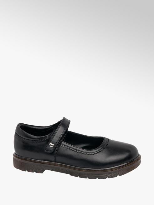 Graceland Junior Girl Black Leather Bar Shoes
