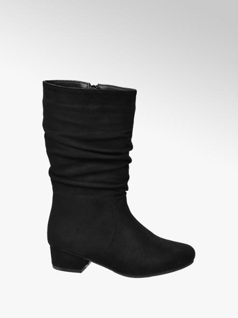 Graceland Junior Girl Black Rouched Leg Heeled Boots